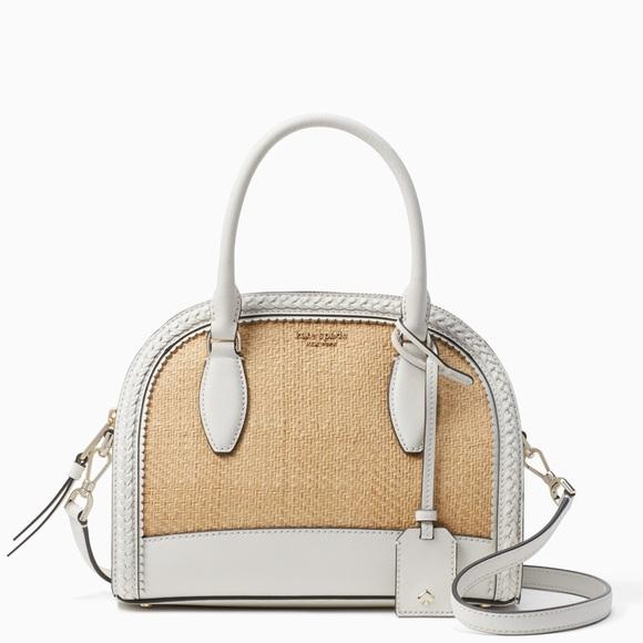 kate spade medium straw leather satchel *NWT*
